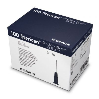 "Aguja hipodérmica Sterican 23G x 1"", 0,60 x 25 mm, L. Caja de 100"