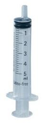 Jeringa B.Braun Omnifix 5 ml de 3 cuerpos Luer excéntrico sin latex. Caja de 100